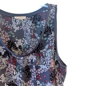 Gray Floral Sleeveless Tunic by LOFT ~ XL